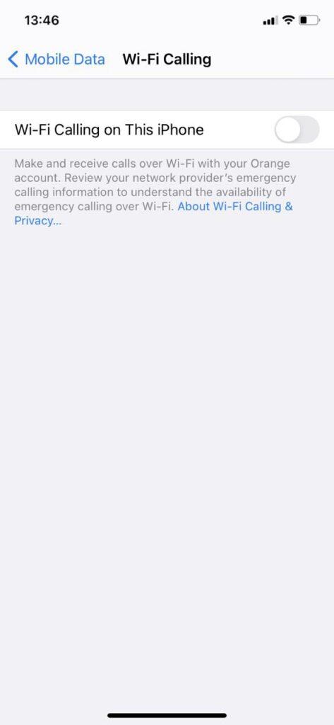 Ustawienia Voice Over WiFi